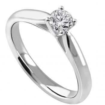 solitaire ring with a brilliant cut diamond a little higher set in 4-prong setting and palmets on the side