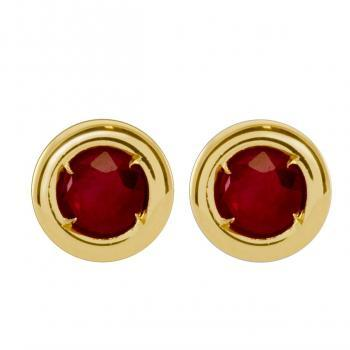 earrings deep red rubies in a donut setting