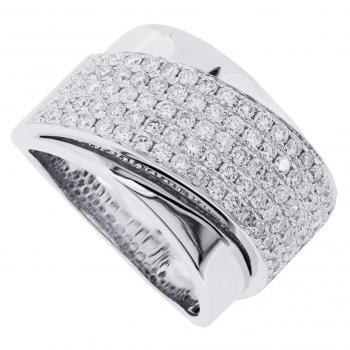 pavéring with slim crossed band set with brilliant cut diamonds over straight band