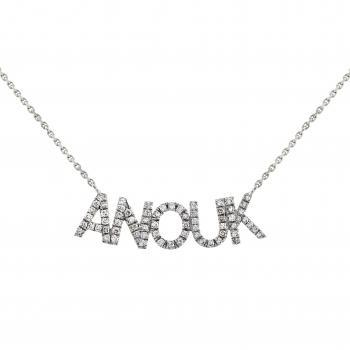 "necklace with a name tag ""amour"" sawed out set with brilliant cut diamonds"