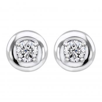 earrings donut rings with brilliant cut diamonds set in four prongs