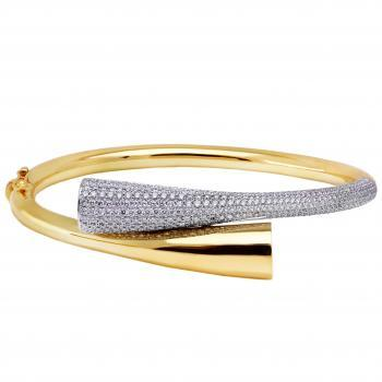 bangle bracelet duo Cocoon truncated and on one side pavé set with small brilliant cut diamonds