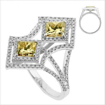 toi-et-moi-ring diamant princess brown 2x1ct