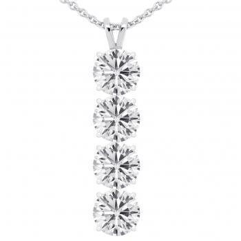 pendant with four brilliant cut diamonds set in four pongs pending on a double loop bracket