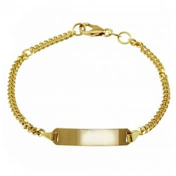 baby bracelet with an rectangular plate on a flat gourmet chain with in between a ring on 2cm (exclusive engraving)