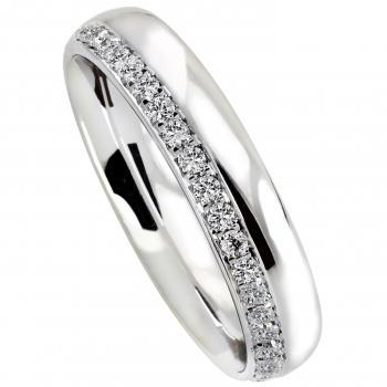 wedding ring slightly rounded completely acclivously half set with brilliant cut diamonds