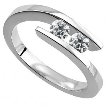 trilogy ring with two brilliant cut diamonds slim set in between the band