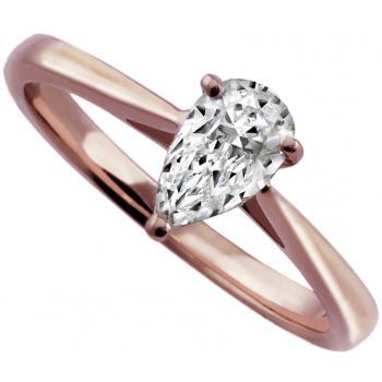 solitaire ring with a teardrop or pear shaped diamond set with four rounded claws on a badn with palmets on the side