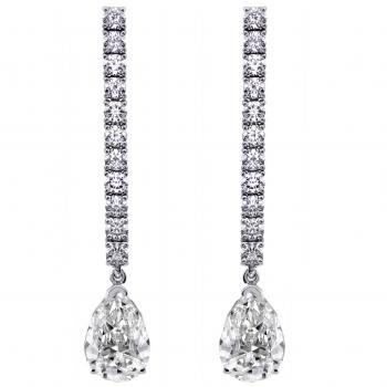 earrings with a row of brilliant cut diamonds ending with pear shaped diamonds