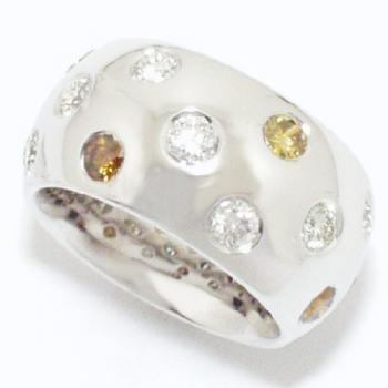wide rounded ring set with fancy colored brilliant cut diamonds