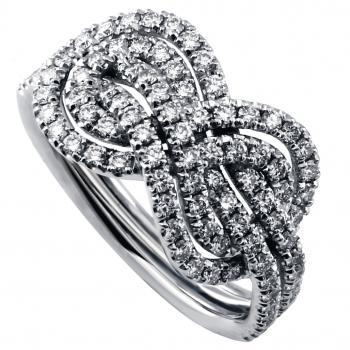 braided infinity ring castle pavé set with brilliant cut diamonds