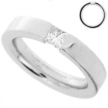 ring 18kt princess-cut tension set with small connection under