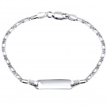 baby bracelet with an rectangular plate on a flat gourmet fantasy with long opening chain with in between a ring on 2cm (exclusive engraving)
