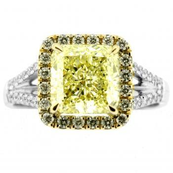entouragering cushion fancy yellow 2,61ct