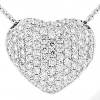 pavé pendant rounded heart with flat back set with brilliant cut diamonds