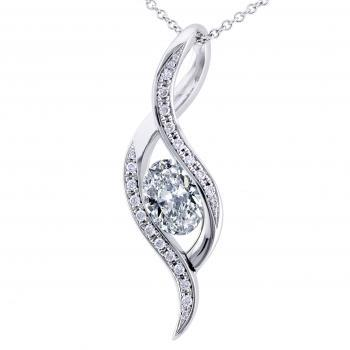 pendant with an oval-shaped diamond flanked with brilliant cut diamonds