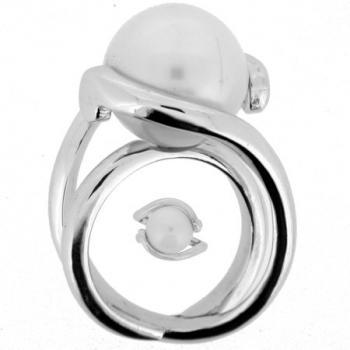 pavé ring 18kt bowed for pearl 13mm +central band