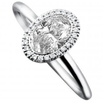 halo ring with an oval cut diamond american set and mounted on a round thin band with two rods and surrounded with smaller brilliant cut diamonds