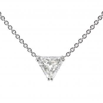 neclace with a triangle cut diamond set with double prongs
