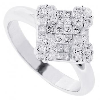 lozange shaped ring with invisible set princess cut diamonds and rounds on the corners