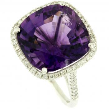 entourage ring  cushion Amethyst en briljant