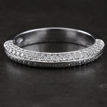 pavé wedding ring rounded V-shaped with two rows of brilliant cut diamonds pavé set on both sides till half